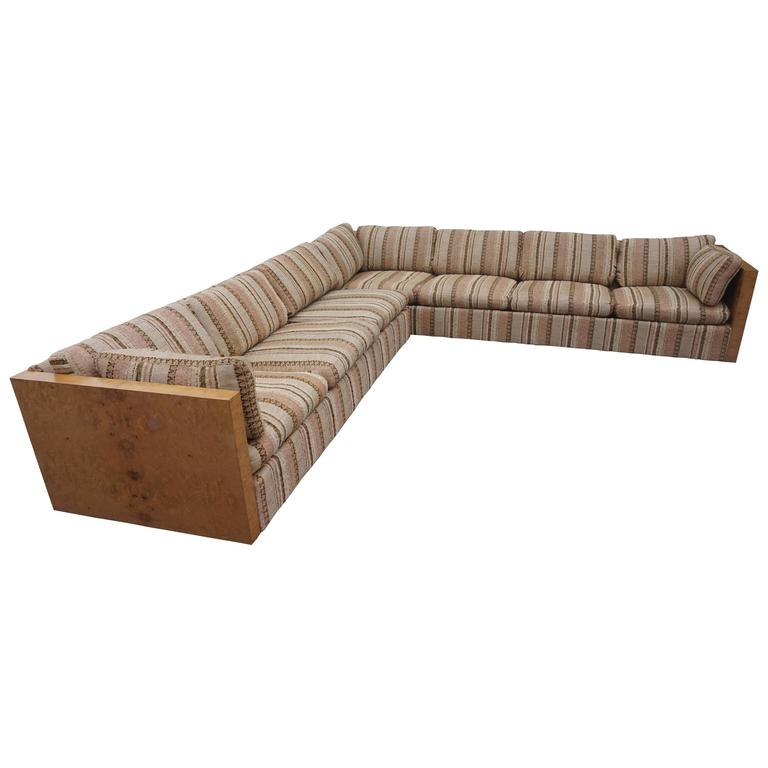 Burled Olivewood Two-Piece Sectional Sofa, Signed Milo Baughman