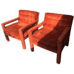 Pair of Milo Baughman Tufted Mid-Century Modern Parsons Armchairs Chairs