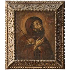 """17th Century Oil on Canvas Painting """"St. Francis"""""""