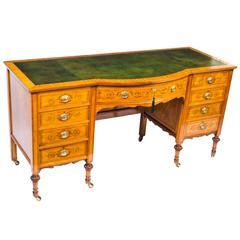 19th Century Edwardian Sheraton Revival Satinwood Desk