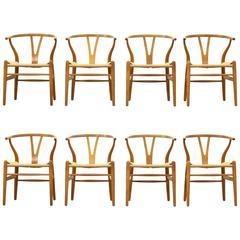 Set of Eight Wishbone Y Dining Chairs CH 24 by Hans J. Wegner for Carl Hansen