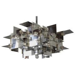 Large Gaetano Sciolari Constructivist Chrome Steel Lucite Brass Chandelier