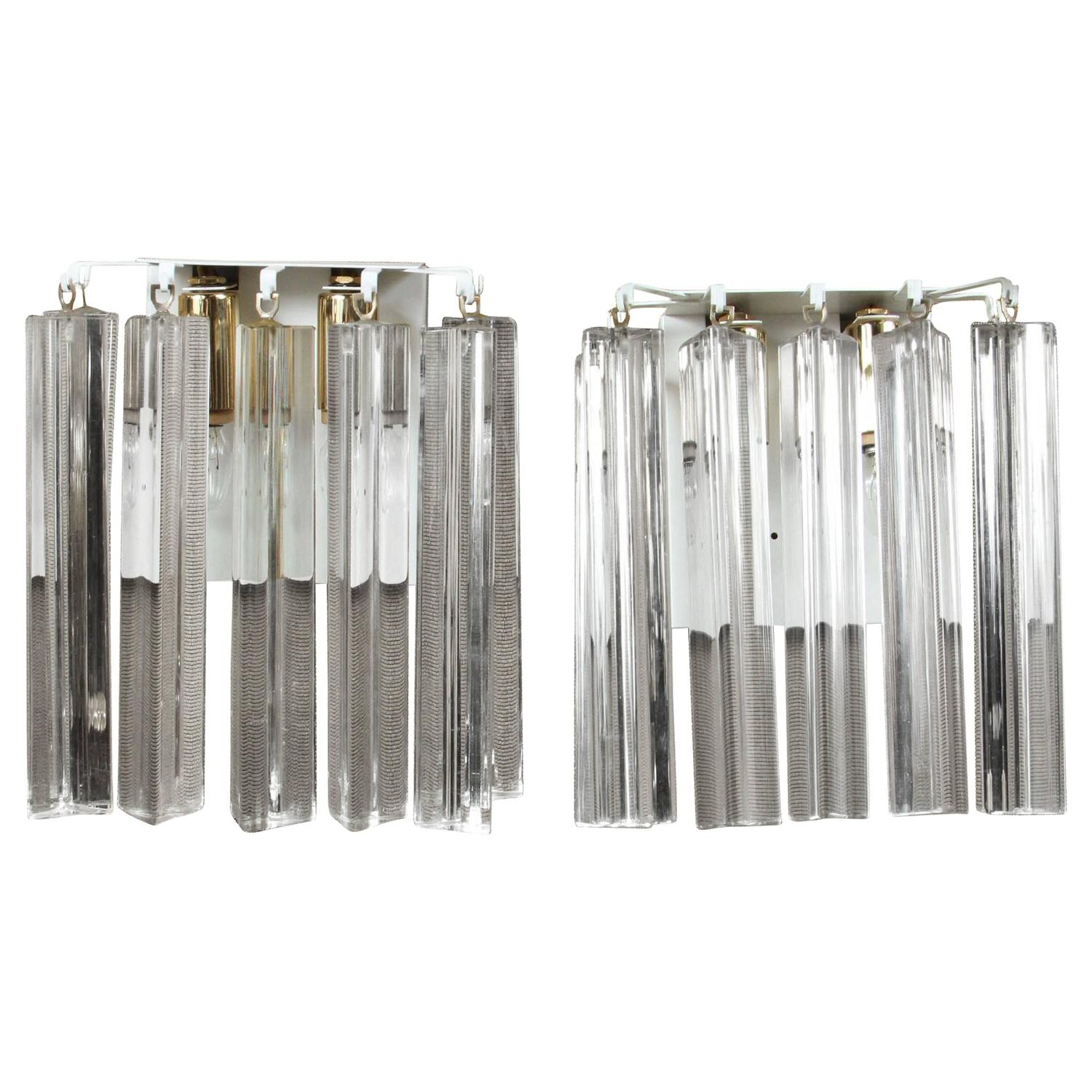 Pair of Glass Prism Triedi Sconces at 1stdibs