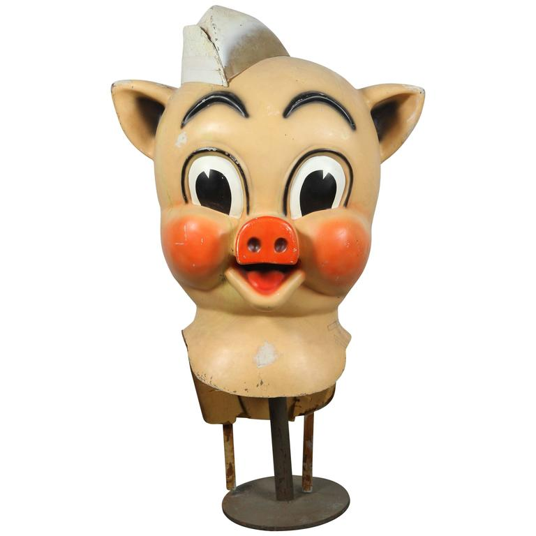 Vintage Iconic Piggly Wiggly Parade Advertising Costume Oversized Head For Sale