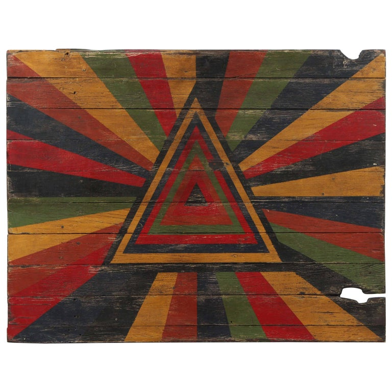 Anonymous Abstract Pyramid Sunburst Painted Board For Sale