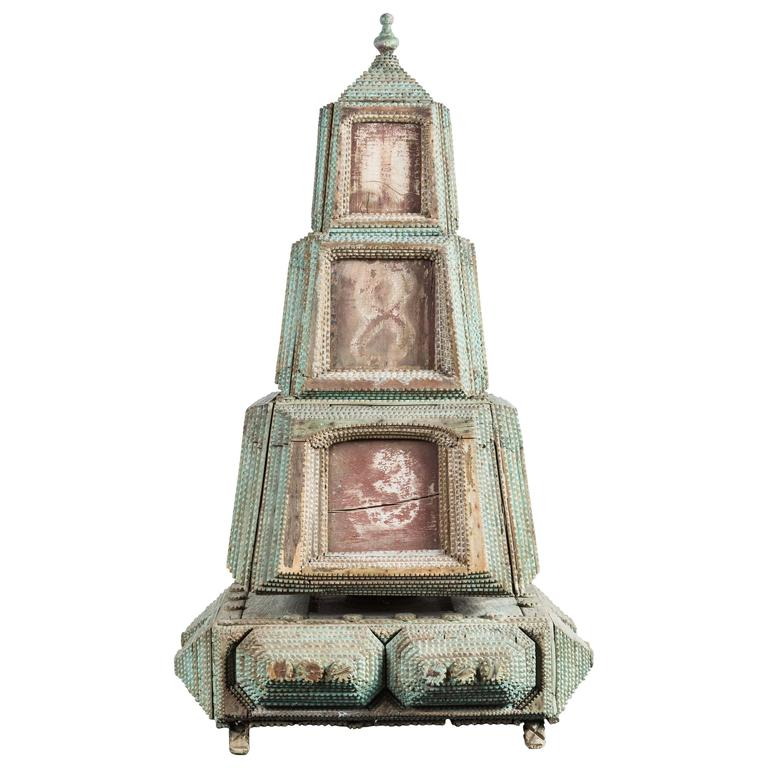 19th Century, Rotating Tramp Art Tower
