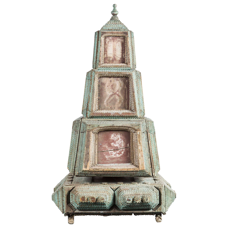 19th Century, Rotating Tramp Art Tower