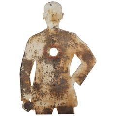 1950s Human Form Two Sided Heavy Sheet Iron Shooting Target
