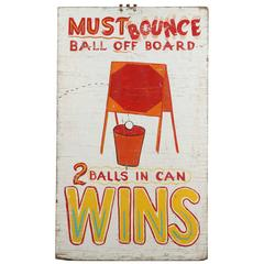 "Vintage Carnival Midway ""Bounce"" Game Sign"