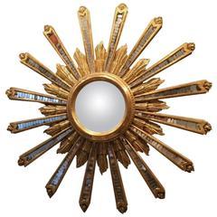 Very Fine Quality Italian Giltwood and Glass Starburst Bull's-Eye Mirror