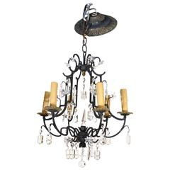 Small Six-Light Wrought Iron and Crystal Chandelier