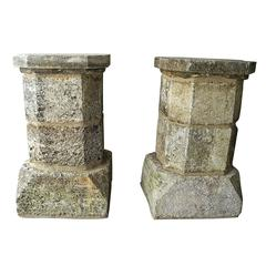 Antique Pair of 17th Century Limestone Columns from Bezier, France