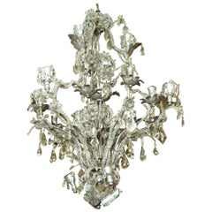 Important Rock Crystal and Silvered Metal Beaded Chandelier attributed to Baguès