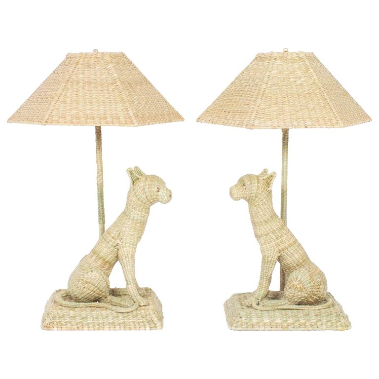 Fun and Folky Wicker Cat Table Lamps by Mario Torres