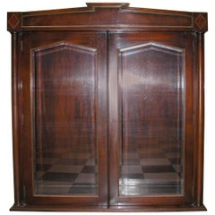 Pair of Mahogany Upper Cabinets with Glass Doors