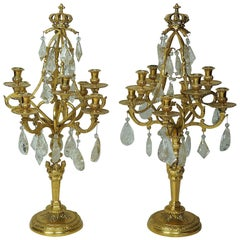 Pair of Eight-Arm Gilt Bronze and Rock Crystal Girondole Candelabras with Crown