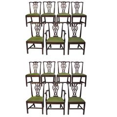 Set of 14 Mahogany Chippendale Dining Chairs