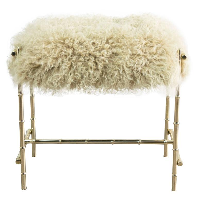 Mid-Century Brass and Sheepskin Faux Bamboo Vanity Stool 1