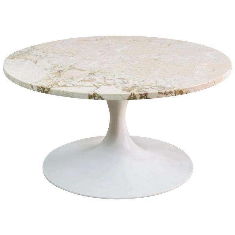 Marble Coffee Table Houston: Tulip Pedestal Table With Travertine Marble Top By Burke