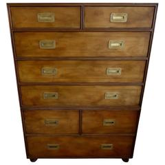 Campaign Style Wooden Dresser or Chest of Drawers by Baker