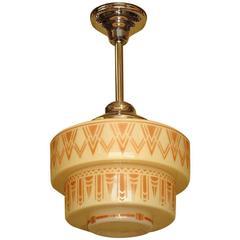 1930s Tan Art Deco Design on Tiered Custard Glass Shade