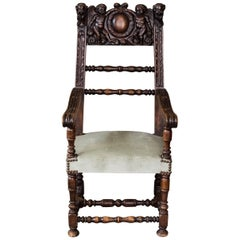 19th Century Jacobean / Renaissance Revival Carved Throne