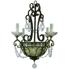 Beaded Crystal Basket Chandelier