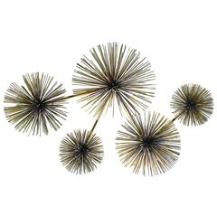 "Curtis Jere Sculpture Oursin Aka ""Pom Pom"" Wall Sculpture in Solid Brass"