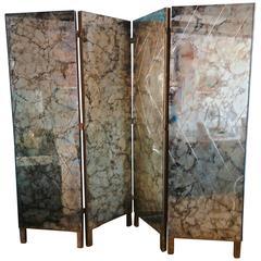 1950s Four-Panel Verre Églomisé Mirror Screen / Room Divider