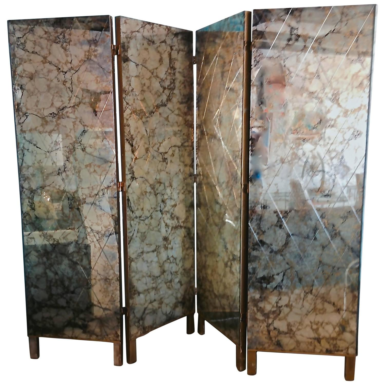 1950s Four-Panel Verre Églomisé Mirror Screen / Room Divider at 1stdibs - 1950s Four-Panel Verre Églomisé Mirror Screen / Room Divider At