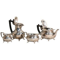 Silver Plated Antique Tea and Coffee Pot Set, England, 19th Century
