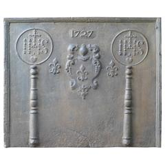 Antique French Fireback with Coat of Arms and Pillars, Dated 1727