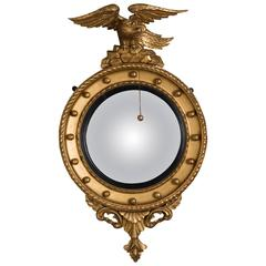 Early 19th Century Convex Mirror with Eagle Pediment