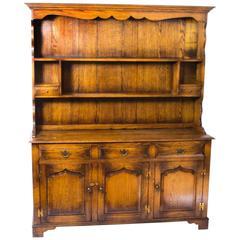 Vintage Welsh Oak Dresser Cabinet Sideboard, Late 20th Century