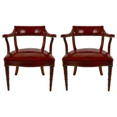 Pair of Formal Ox Blood Leather Armchairs