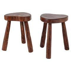 Handcrafted Pair of Tripod Stools with Heart Shaped Seat, France, 1950s