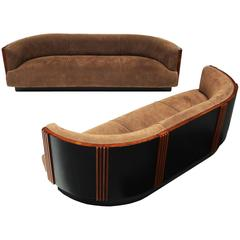 Pair of 1930s French Art Deco Curved Sofas