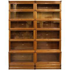 Early 20th Century English Oak Globe Wernicke Bookcase For