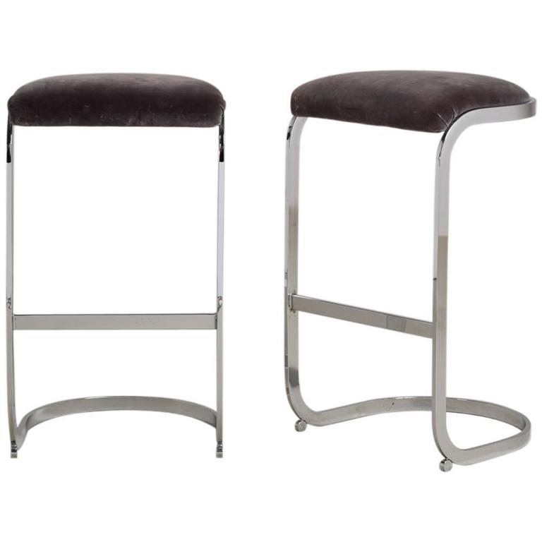 Pair Of Milo Baughman Chrome Cantilevered Bar Stools 1970s