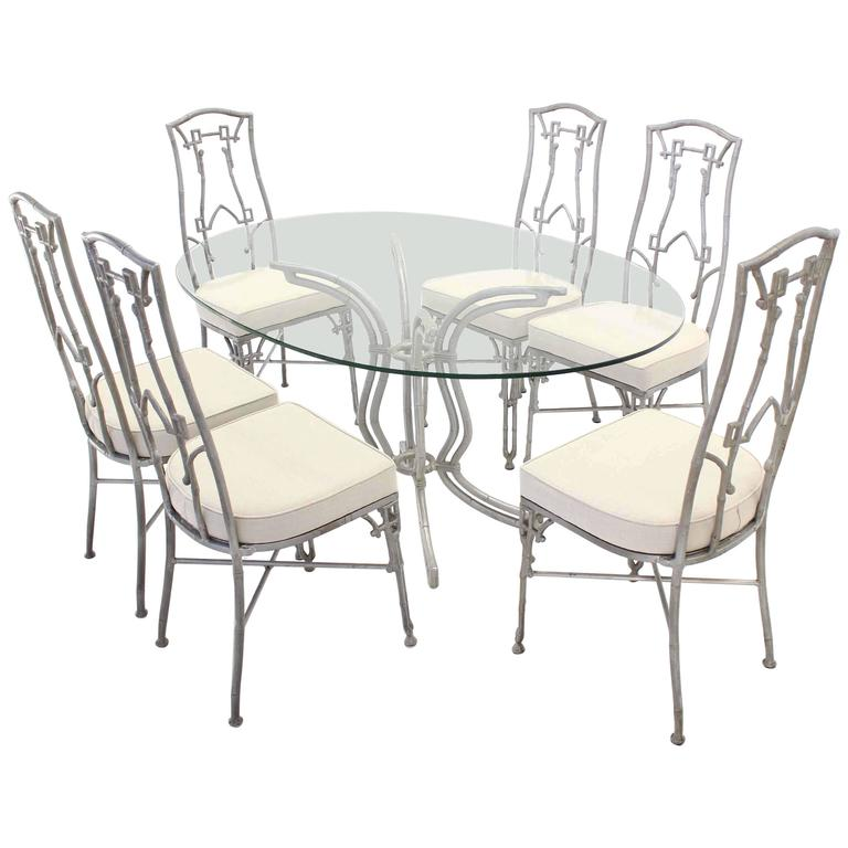 Cast Aluminum Faux Bamboo Mid-Century Modern Six Chairs and Table Dining Set