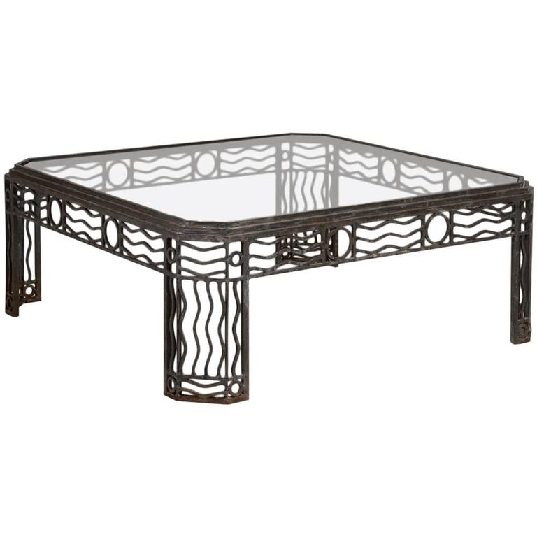 Decorative Wrought Iron And Glass Coffee Table 1970s For Sale At 1stdibs