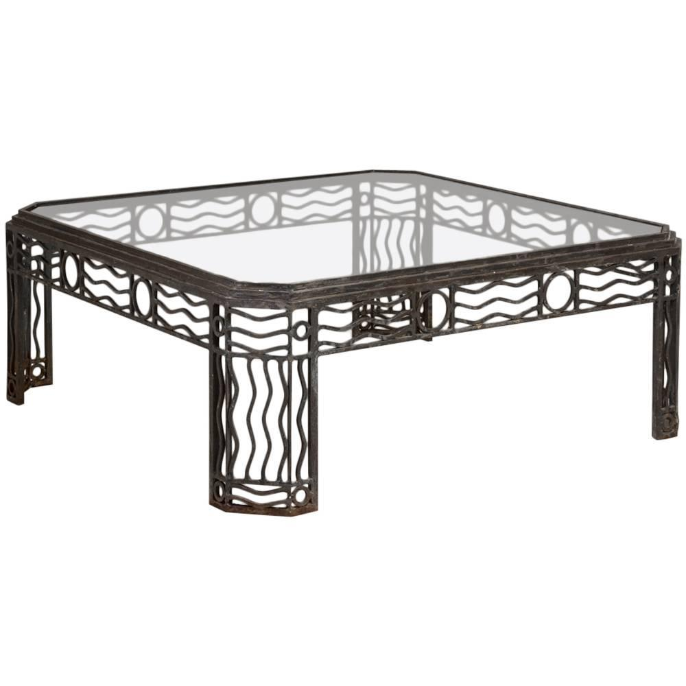 Decorative wrought iron and glass coffee table 1970s at 1stdibs Wrought iron coffee tables