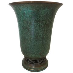Vintage Art Deco Bronze Vase by Carl Sorensen