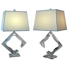 Pair of Van Teal Lucite Lamps
