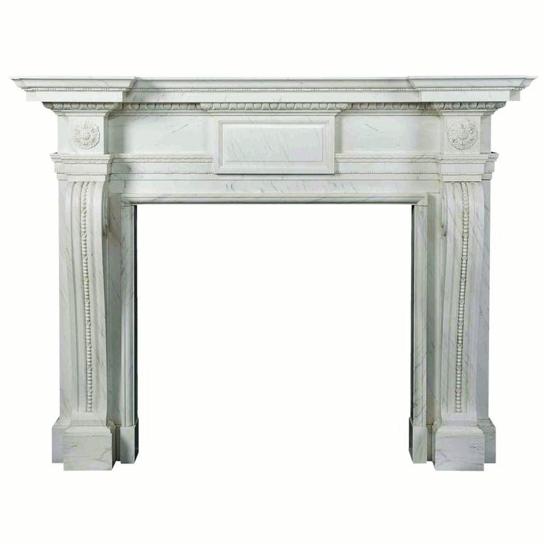 18th Century Reproduction Mantel with Fine Carving in Statuary Marble