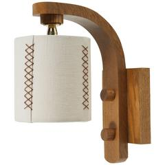 Paul Marra Oak Sconce with Hand-Stitched Linen Shade