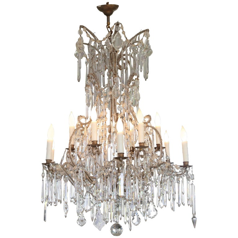 Italian Cascading Crystal Chandelier from Genoa From The Early 1900s For Sale
