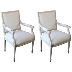 French Louis XVI Style Original Painted Armchairs, circa 1920s