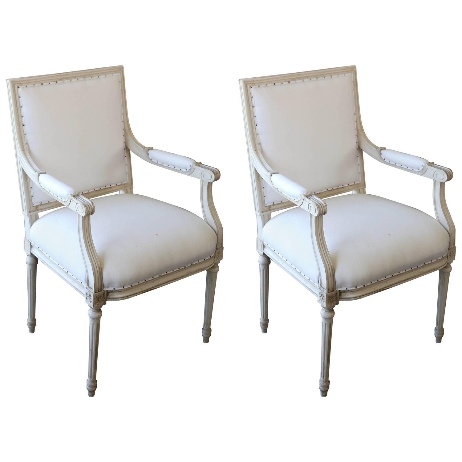 French louis xvi style original painted armchairs circa 1920s for