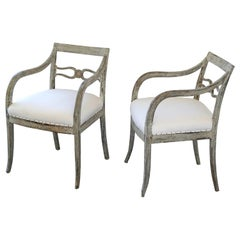 19th Century Swedish Gustavian Painted Armchairs with Muslin Fabric